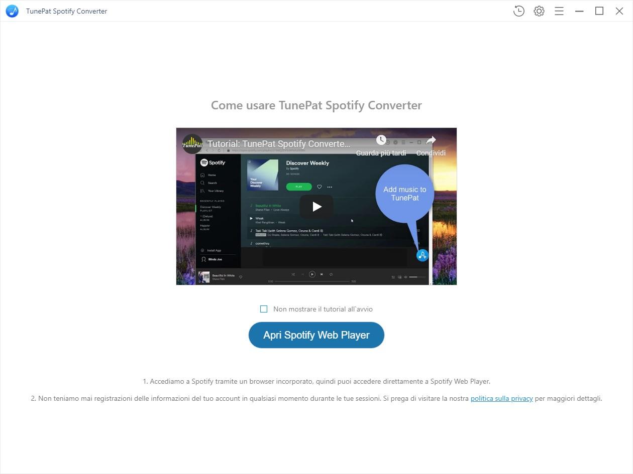 TunePat Spotify Music Converter v1.15 - ITA